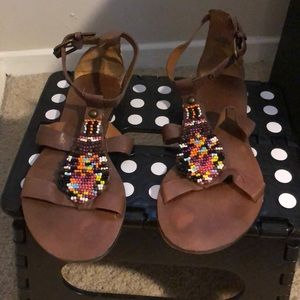 Strappy beaded sandals 🌈